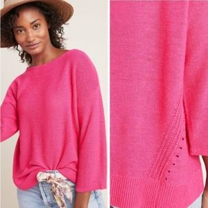 Anthropologie boat neck oversized pullover knit